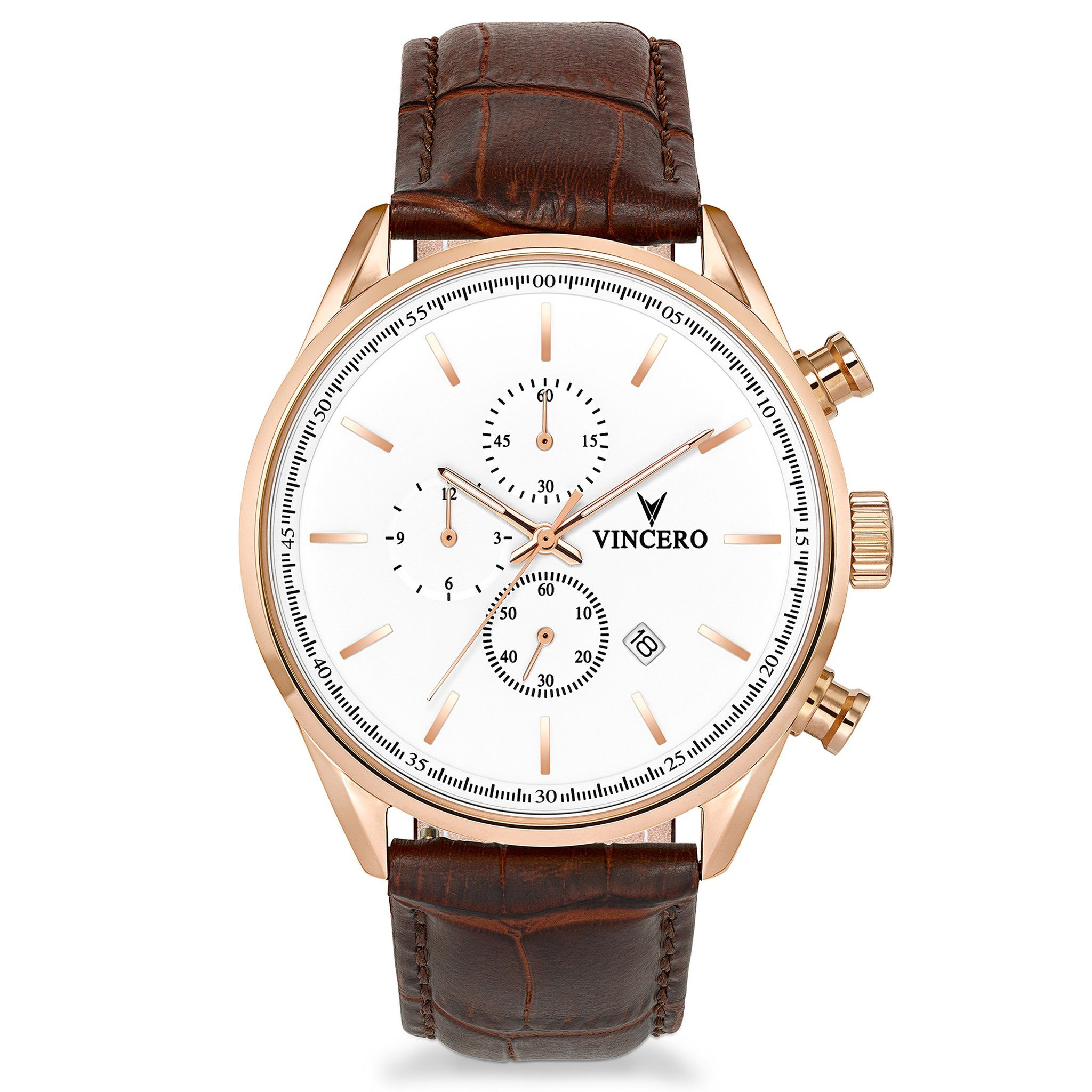 72d71088931 Men s Luxury Chrono S Chronograph Watch Mocha Brown Croc Italian Leather  Strap Band White Watch Face Rose Gold Case Clasp