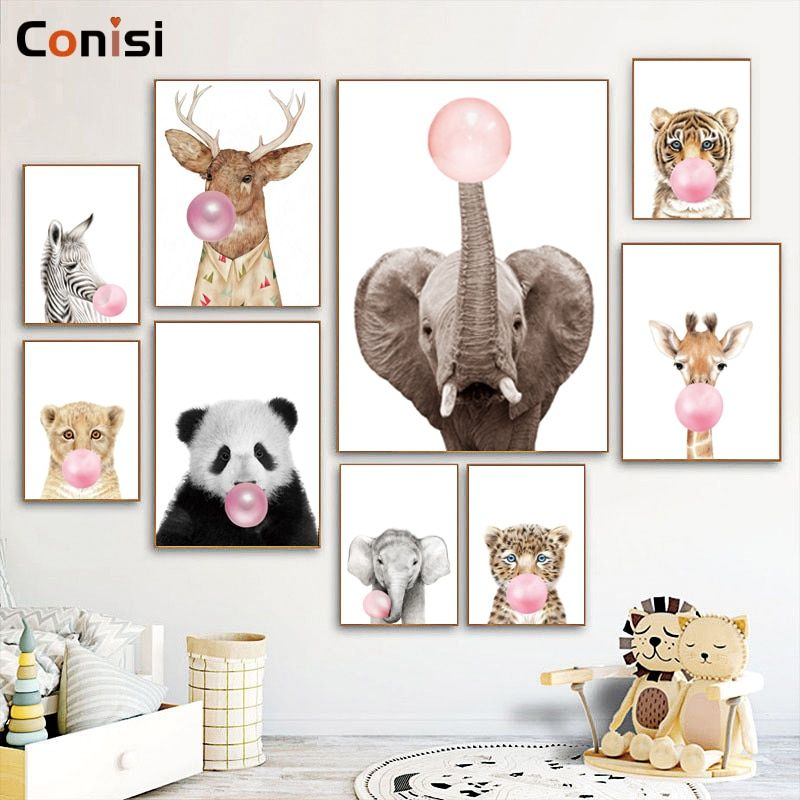 Conisi Panda Animal Nursery Canvas Art Poster Print Wall Pictures Canvas Painting Cuadros Quadro Kids Children Living Room Decor In 2020 Nursery Canvas Art Nursery Canvas Wall Art Pictures