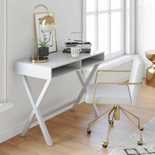 Nathan James 40 In Rectangular White Writing Desk With Built In Storage 51002 The Home Depot In 2020 White Computer Desk Desks For Small Spaces Desk In Living Room