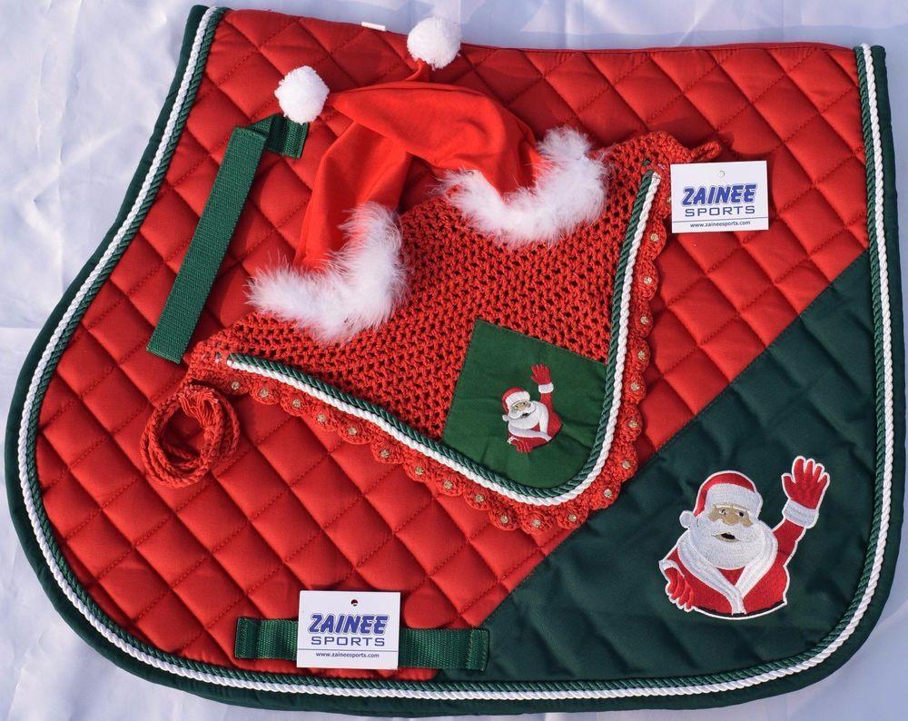 Fly Veil Christmas Saddle Pad Equine Saddle Pad