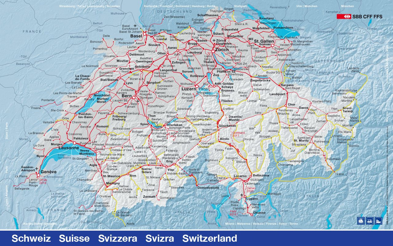 Switzerland Sbb Train Network Map Zugreise Strassenkarte Zugreisen