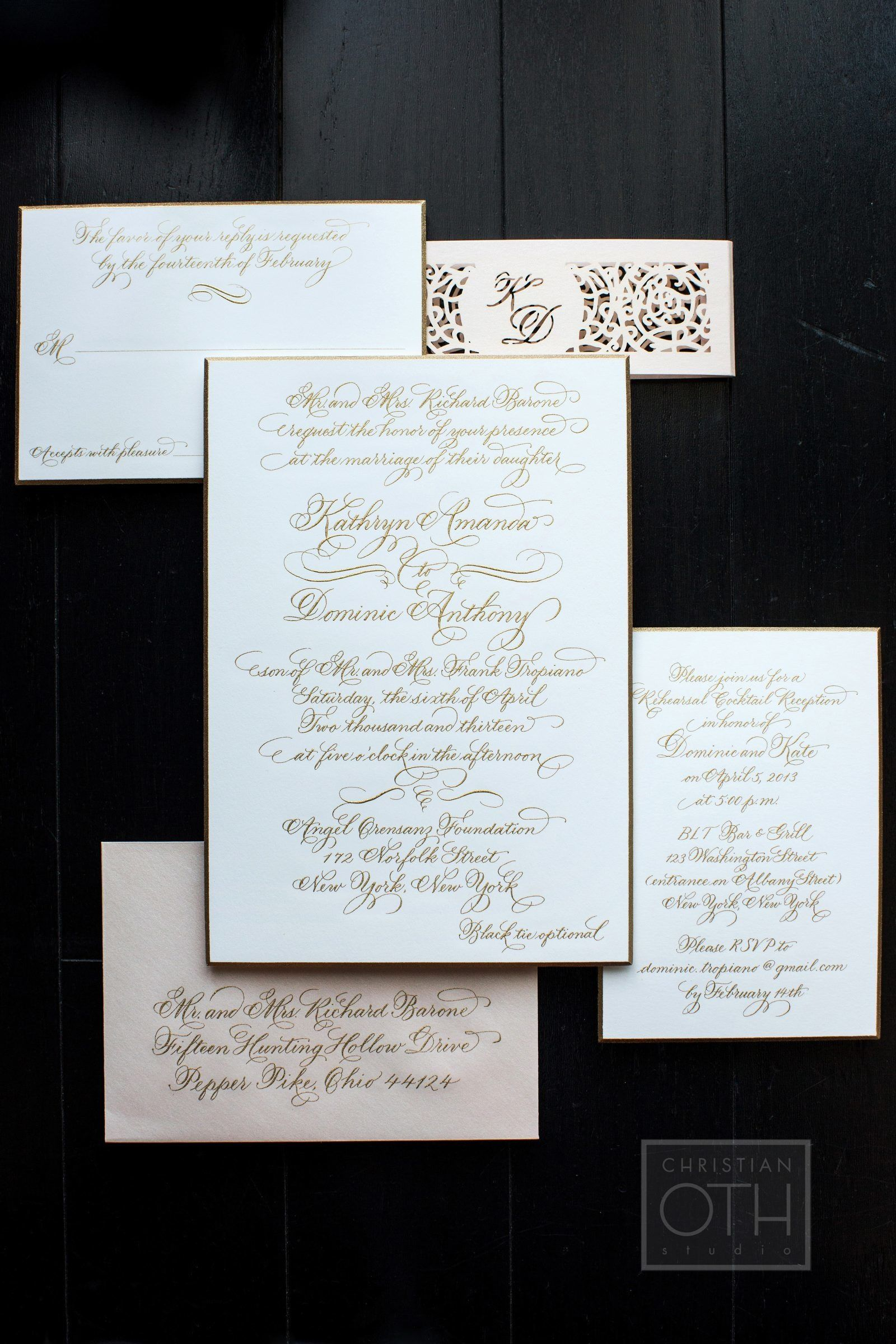 Wedding Invitations from Ceci New York | #Calligraphy | SO elegant! See the wedding on SMP: http://www.StyleMePretty.com/tri-state-weddings/2014/02/07/traditional-nyc-wedding-at-angel-orensanz-foundation/ Photography: Shawn Connell Of Christian Oth Studio