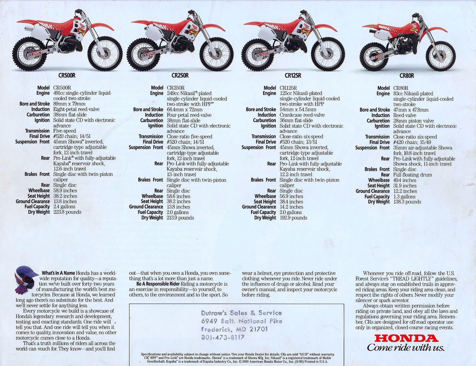 1991 Honda Cr80r Cr125r Cr250r And Cr500r Brochure Page 4 Honda Motorcycle Model Brochure