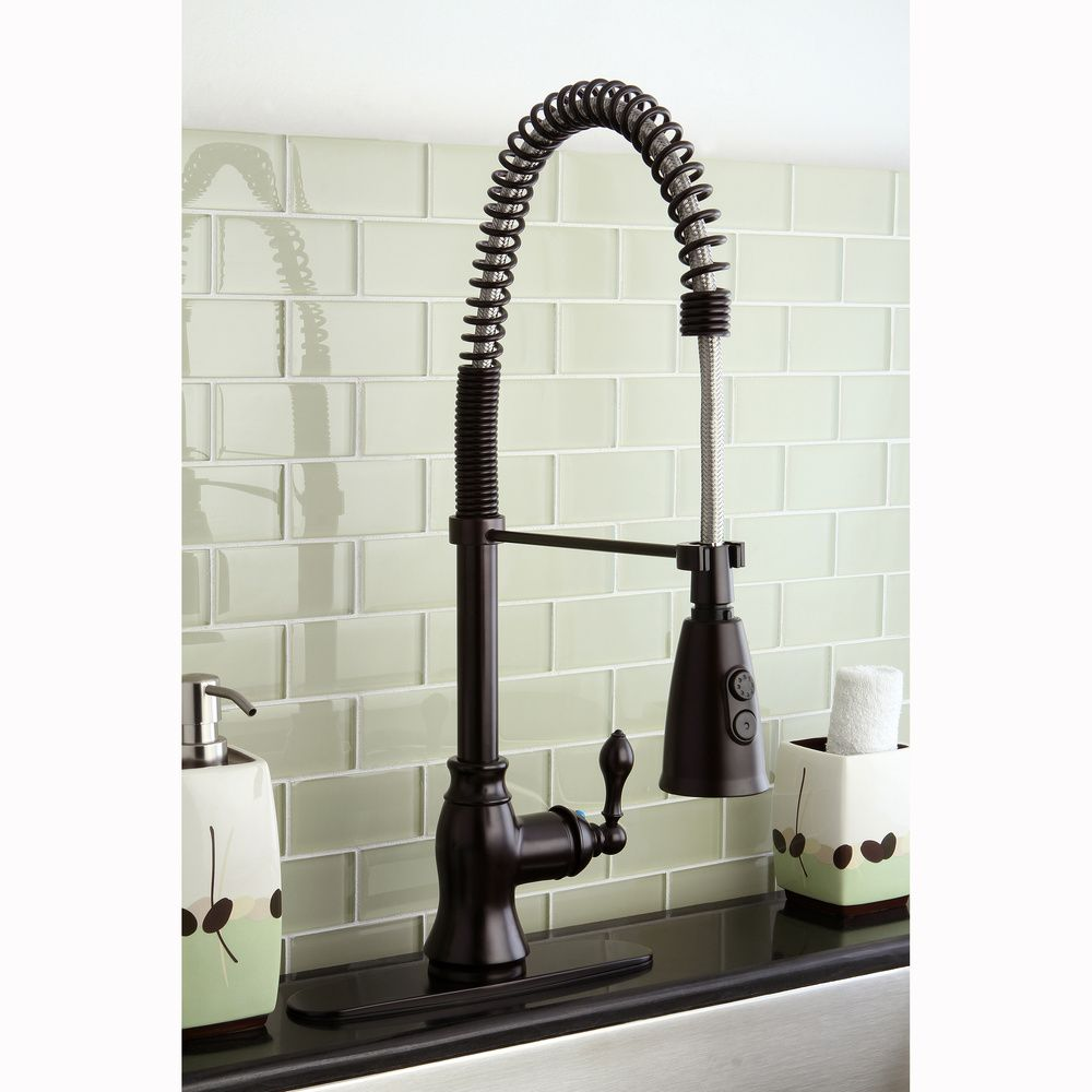 American Clic Modern Oil Rubbed Bronze Spiral Pull Down Kitchen Faucet By Kingston Br