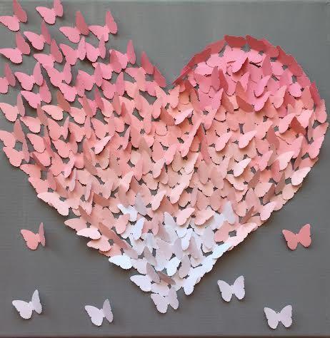 Papillon 3D Wall Art, lumière rose sur coeur papillon classique gris