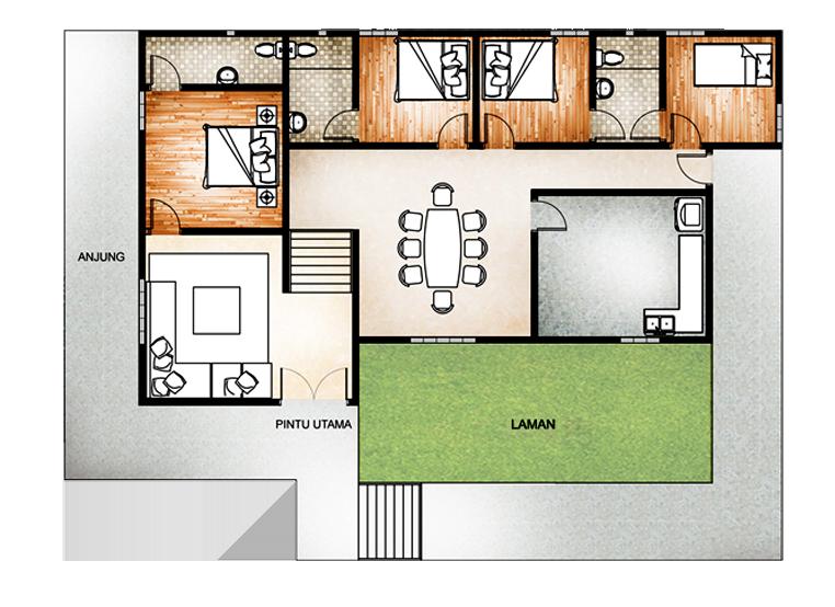4 Bilik Tidur Floor Plans Floors Flats House Plan