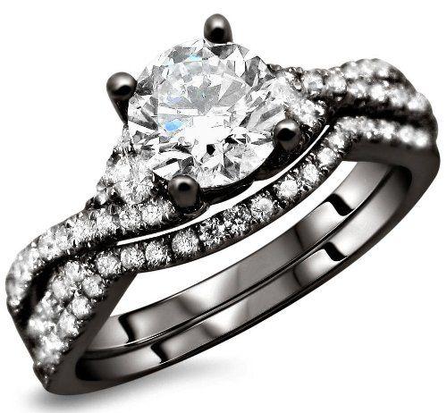 120ct Round Diamond Engagement Ring Wedding Set 18k Black Gold Rhodium Plating Over White