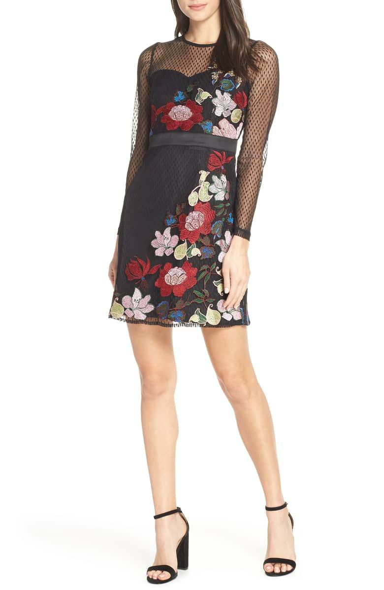 f0f77ab12a7 Lana Embroidered Mesh Cocktail Dress, Main, color, BLACK MULTI ...