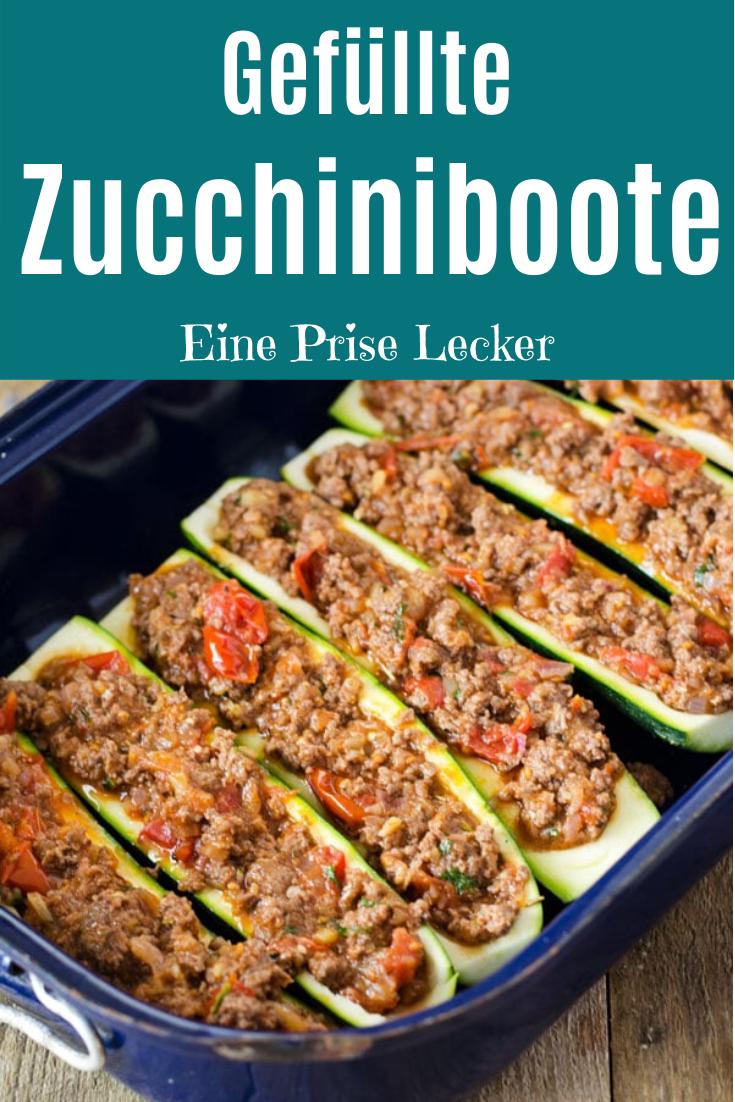 Gefüllte Zucchininboote mit Hack Schnell und einfach Zucchiniboote mit Hackfleisch aus dem Ofen Low Carb und high Protein nur 285 Kalorien je Portion