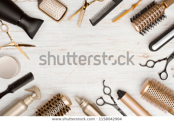 Various Hair Dresser Tools On Wooden Stock Photo Edit Now 1158042904 Hair Salon Art Hair Salon Logos Hair Salon Quotes