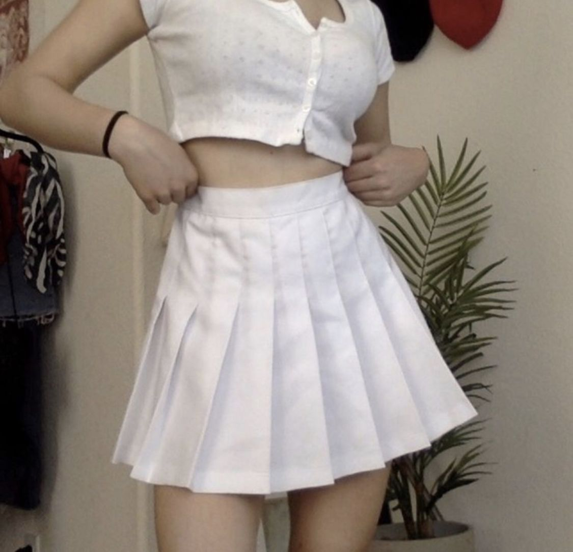 Breeze Skirt From Shop Tmp Pleated Tennis Skirt White Outfit Of The Day Ootd Egirl Style Fashion Stylish Gir Tennis Skirt Outfit Pleated Tennis Skirt Fashion