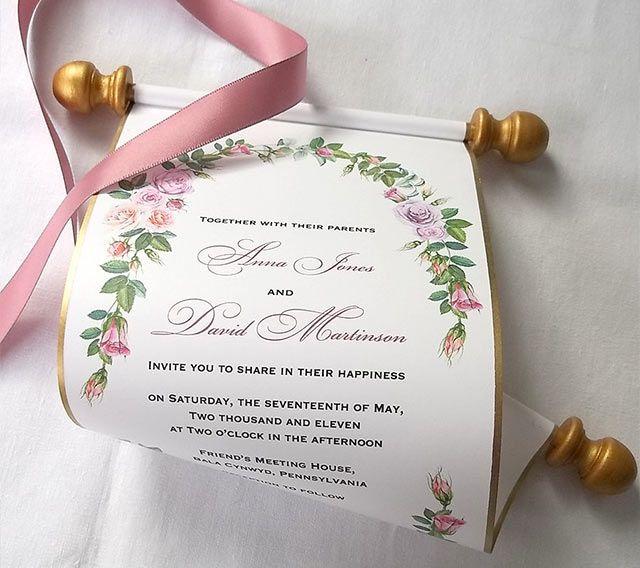 13 Alternatives To Traditional Wedding Invitations Scroll Wedding Invitations Mauve Wedding Invitations Wedding Invitations Boho