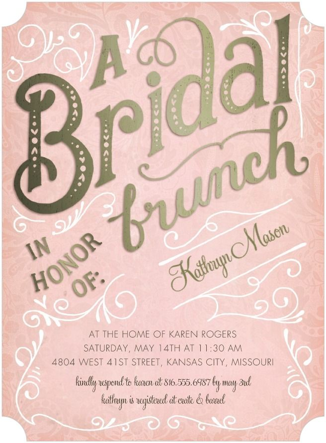 Pretty whimsical bridal shower invites to be wed pinterest bridal brunch signature white bridal shower invitations petite alma rose pink front maybe change to turquoise to fit with the wedding colors filmwisefo
