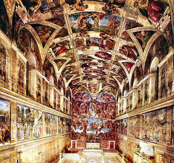 Les fresques de la chapelle sixtine de michel ange 1508 peinture la chapelle sixtine - Michel ange chapelle sixtine plafond ...