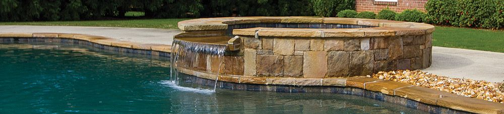 Tuscany Azul Tile At Waterline And Stacked Stone On
