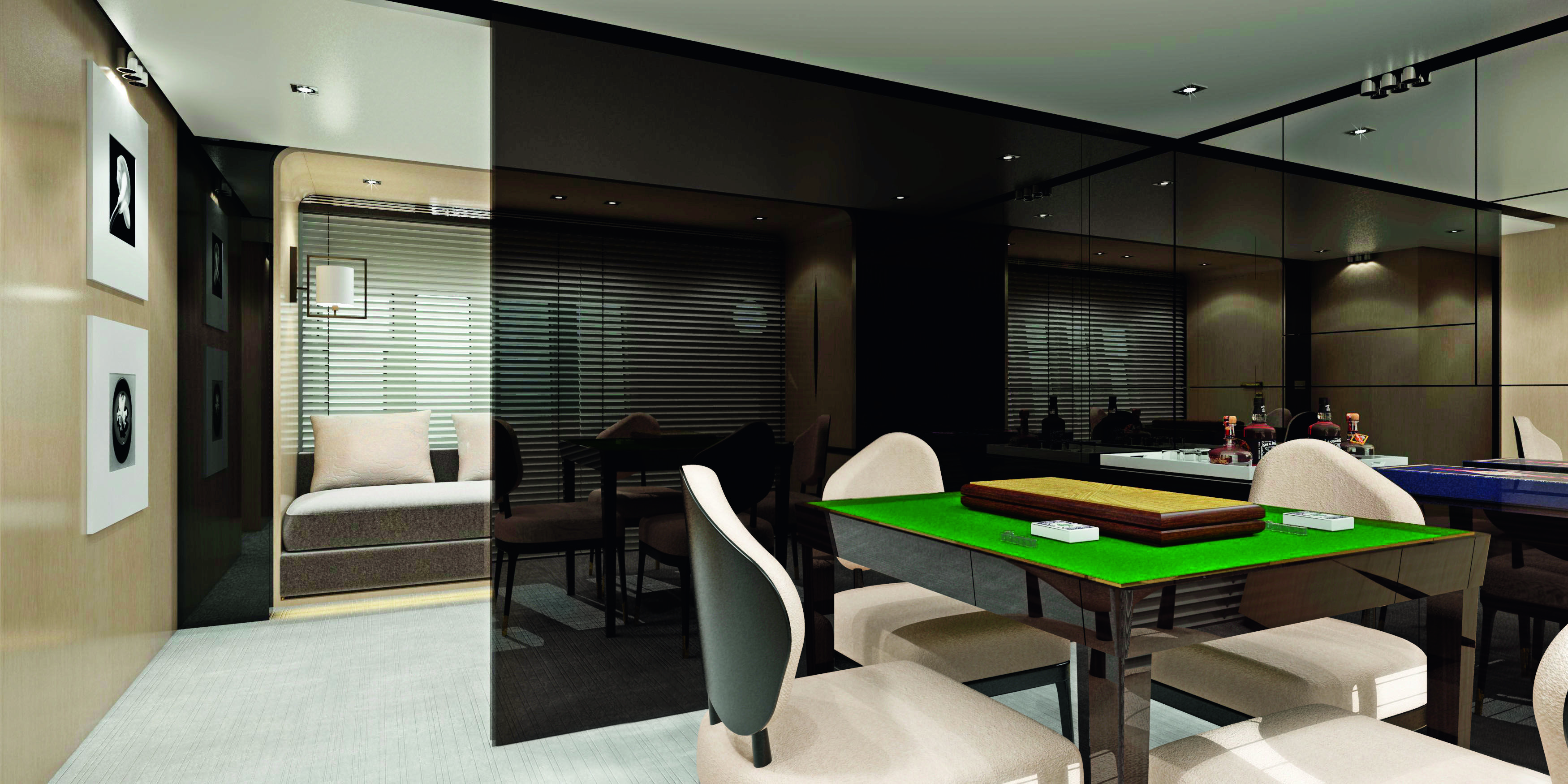 Yacht interior design azimut 88 dragon mahjong karaoke for Design room karaoke