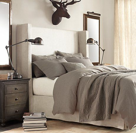 My new bed? Belgian shelter headboard from Restoration Hardware.