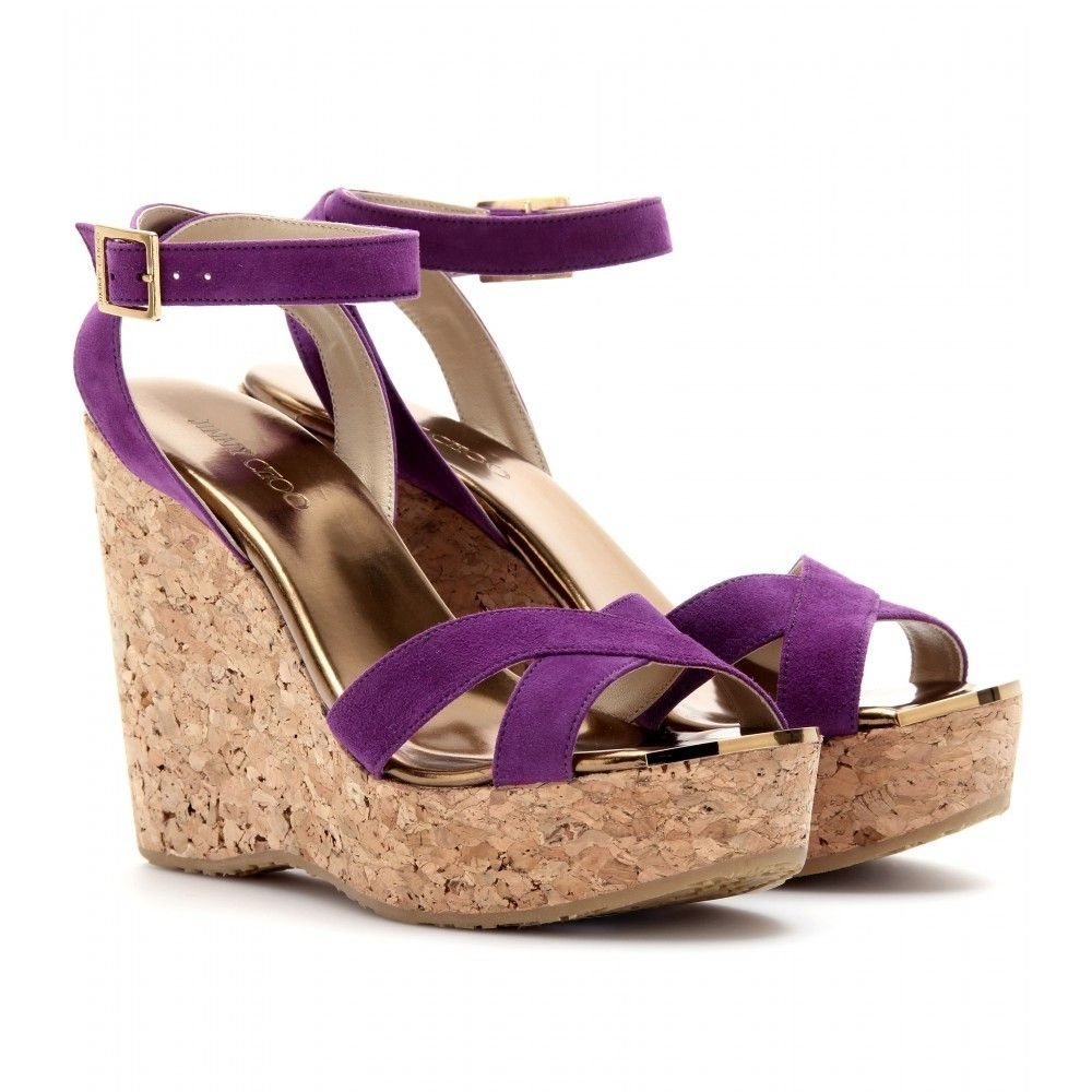 purple shoes with a wedge heel | Cork Wedge Sandals - predominant colour:  purple;