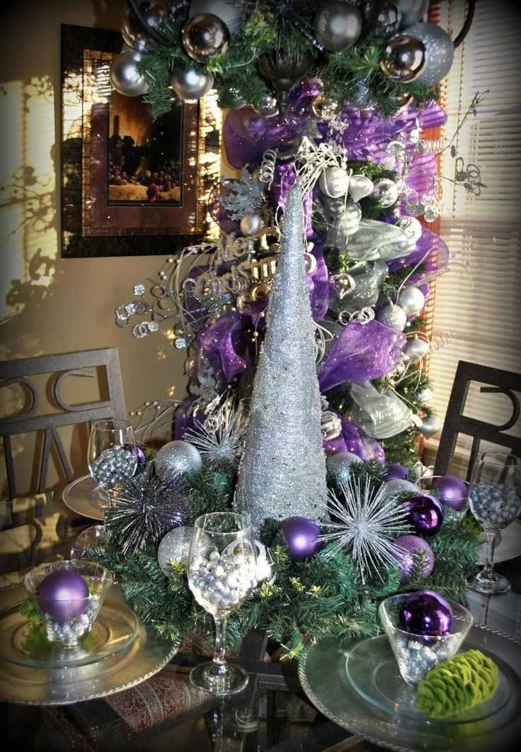 Pin By Punk Kerr On Tablescapes Buffets Decorated China Cabinets Purple Christmas Decorations Purple Christmas Christmas Decorations