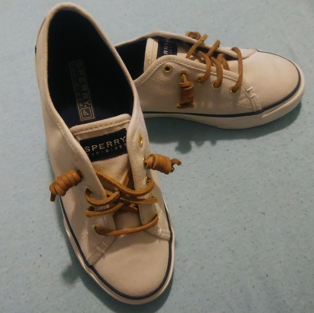 588edac746c593 Sperry Seacoast canvas oat leather laces boat shoes sneakers sz 5 EUC   Sperry  LowTop