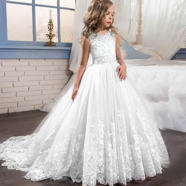 2019 New Lace Flower Girl Dress for Wedding First Communion Dresses Ball Gowns