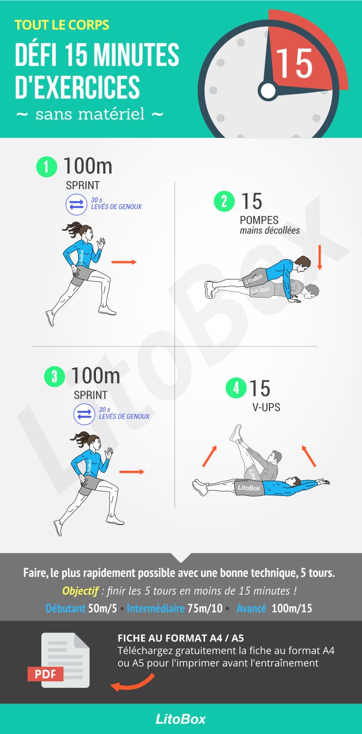 Défi sportif sans matériel (en moins 15 minutes)   Défis
