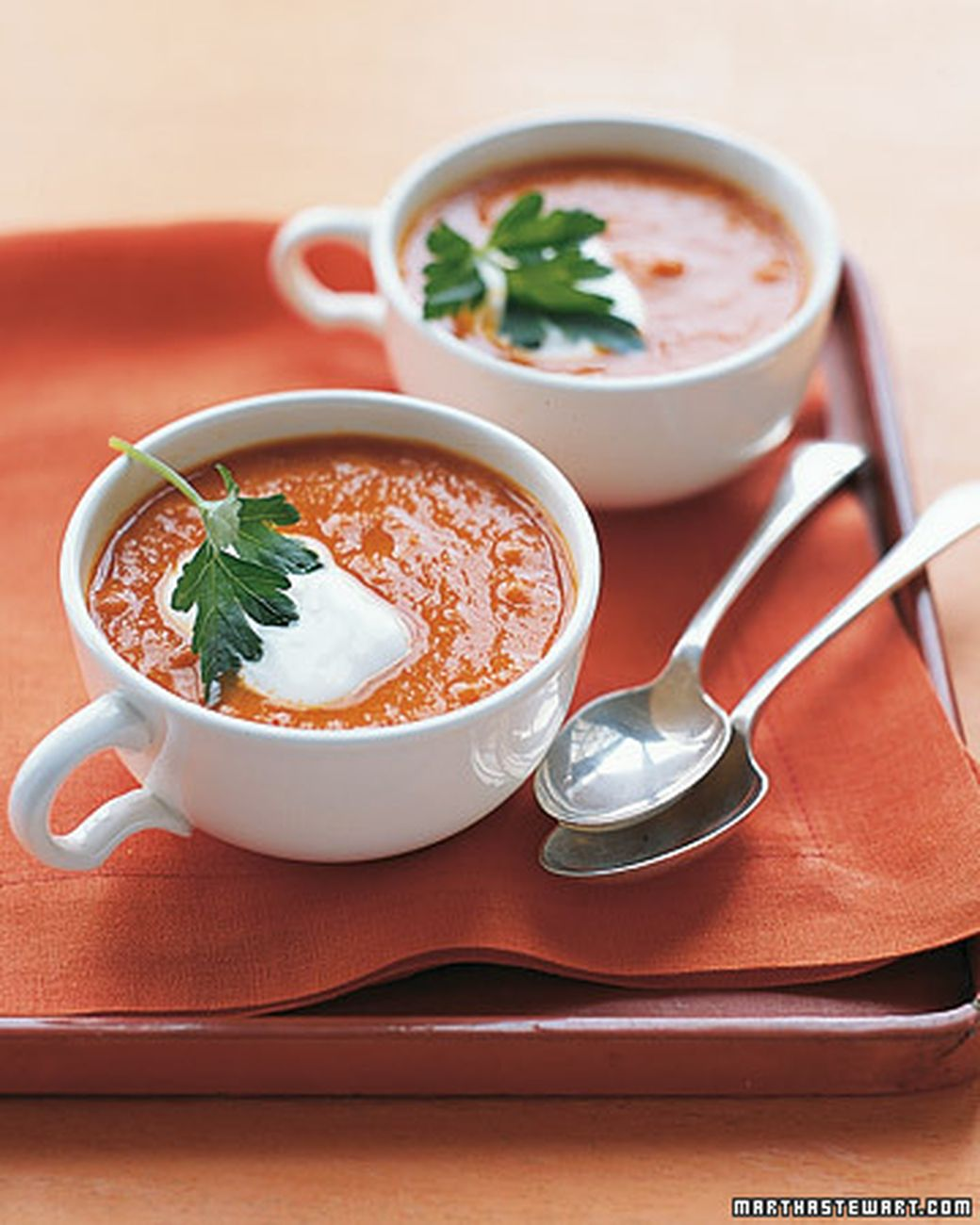 Spiced Chickpea and Tomato Soup | Martha Stewart Living - Thanks to the soup's garlic and red chiles, you'll be warmed up in no time.