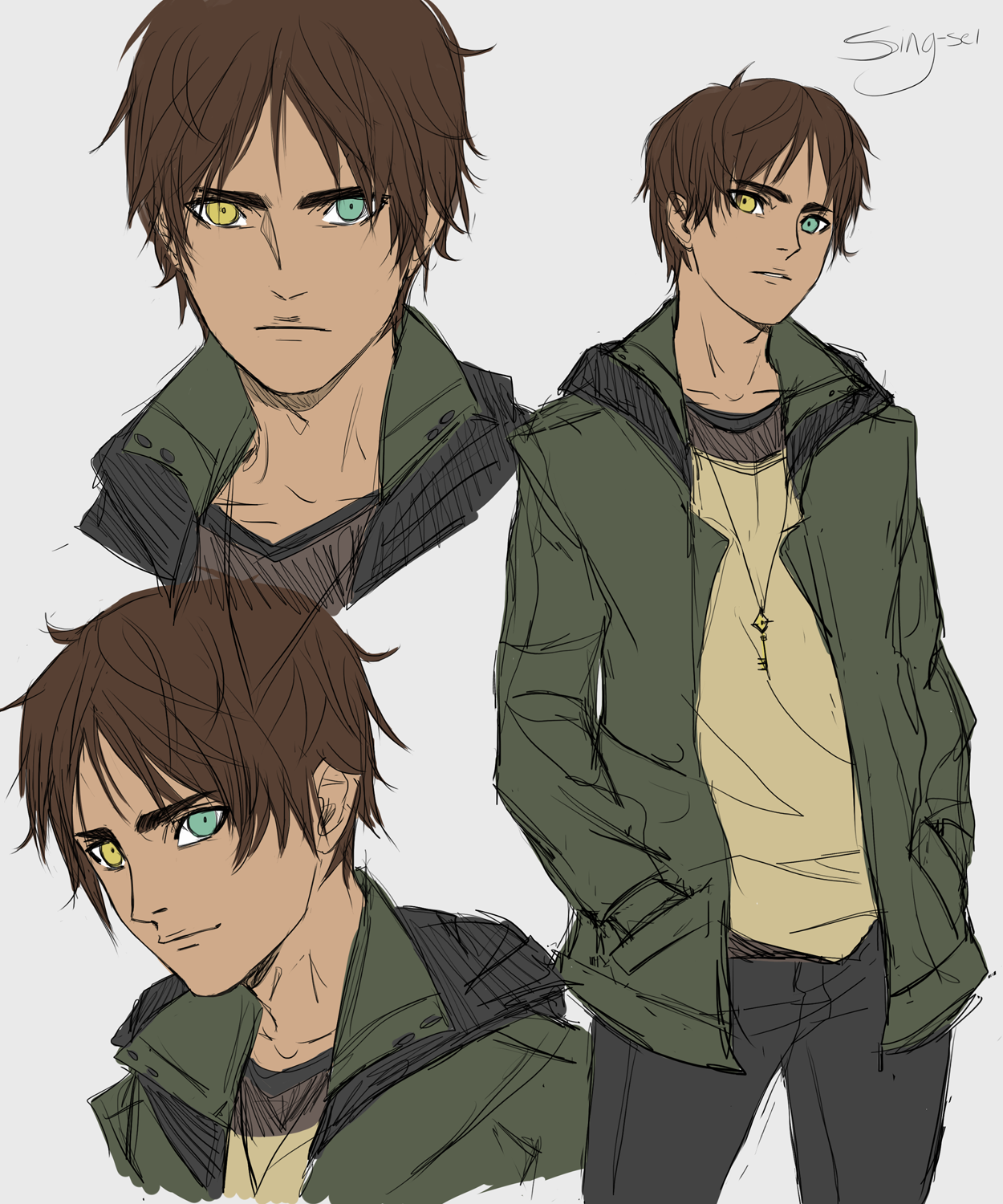 Eren design for an Attack on Titan zombie apocalypse AU with