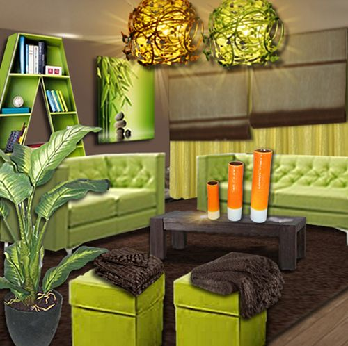 Idee Deco Un Salon Vert Anis Et Chocolat Floriane Lemarie Decor Green Lounge Home Decor