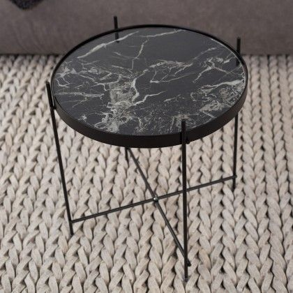Round Black Marble Cupid Side Table Beautiful Tables Pinterest Contemporary Hall And Living Rooms