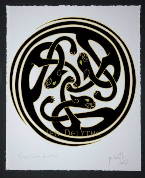 Kats Sidhe Faerie Cats Limited Edition Celtic Art Print By Welsh