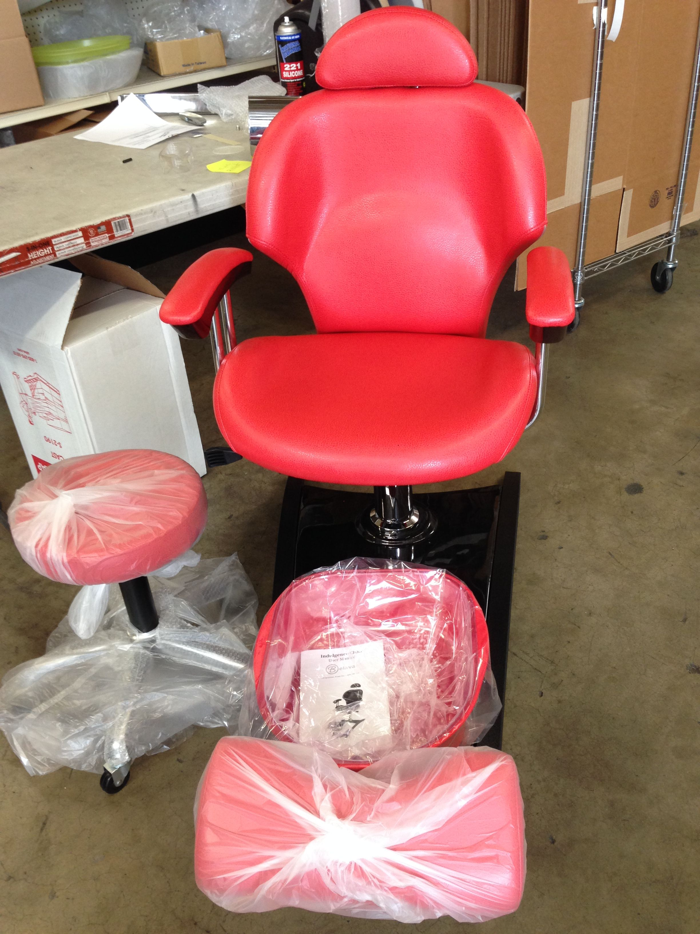 Our Newest Creation A Tomato Indulgence Chair Ready To Ship Out Beauty Salon Furniture Nail Salon Design Salon Furniture