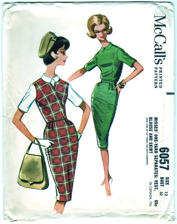 Vintage 1961 McCall's 6057 UNCUT Sewing Pattern Misses' One-Yard Separates, Vest, Blouse and Skirt Size 12 Bust 32
