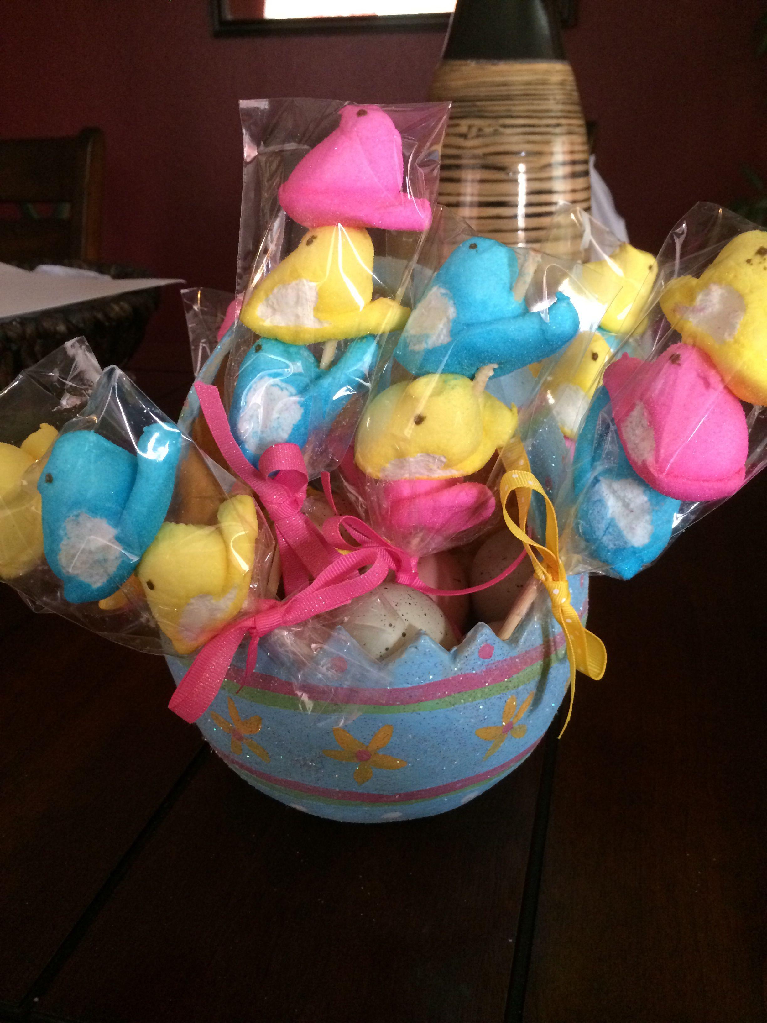Easter treats/Peeps on a stick. :)