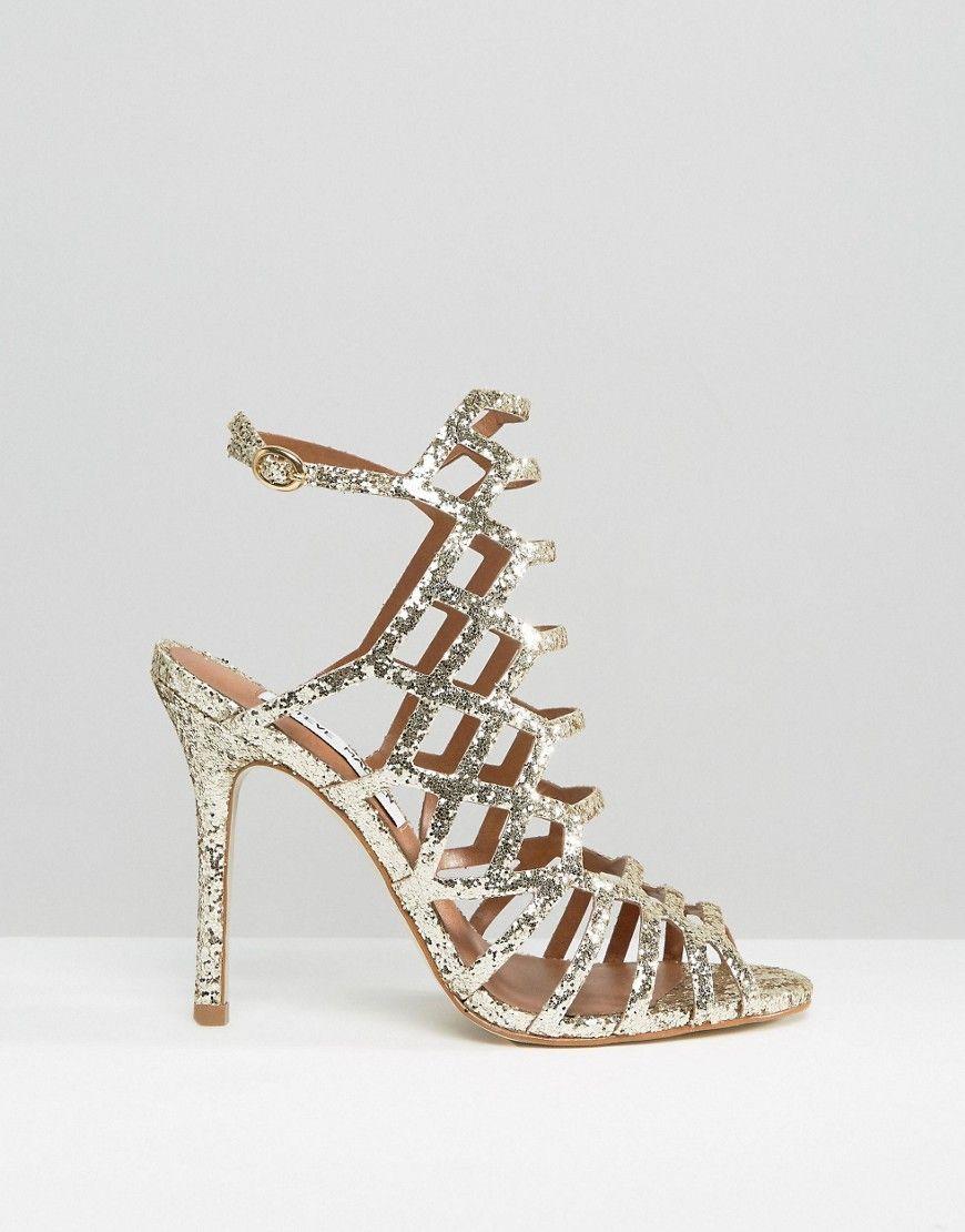 6e9a7594381 Image 2 of Steve Madden Slithur Gold Glitter Caged Heeled Sandals