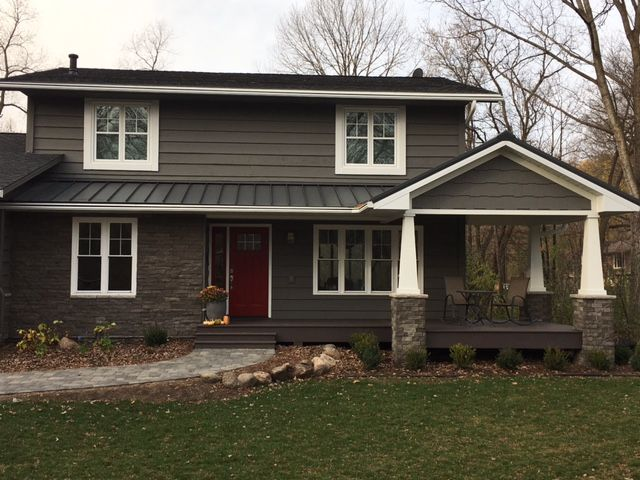 Enhancements To This Minnetonka Mn Home Included A New Deck Leafguard Brand Gutters Metal Roofing Lp Exterior Remodel New Home Construction House Exterior
