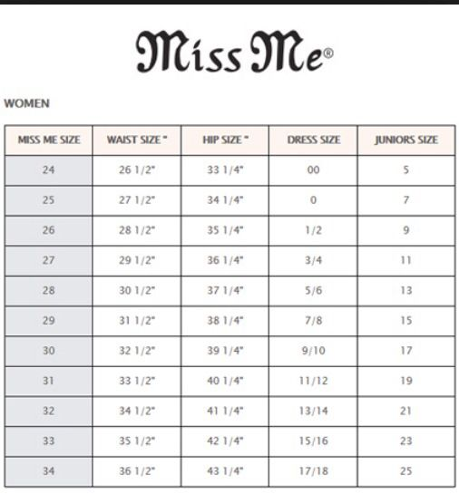 How To Tell What Size You Are In Miss Me S