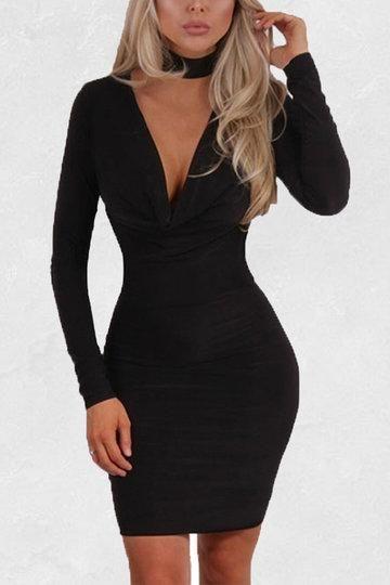 43++ Long sleeve v neck dress ideas