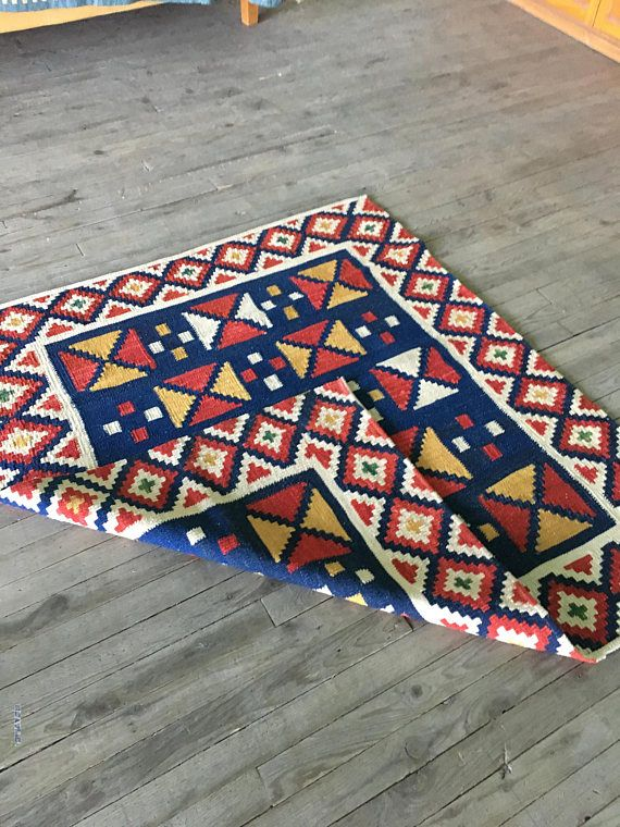 Small Kilim Rug Turkish About 4x4 Red Blue