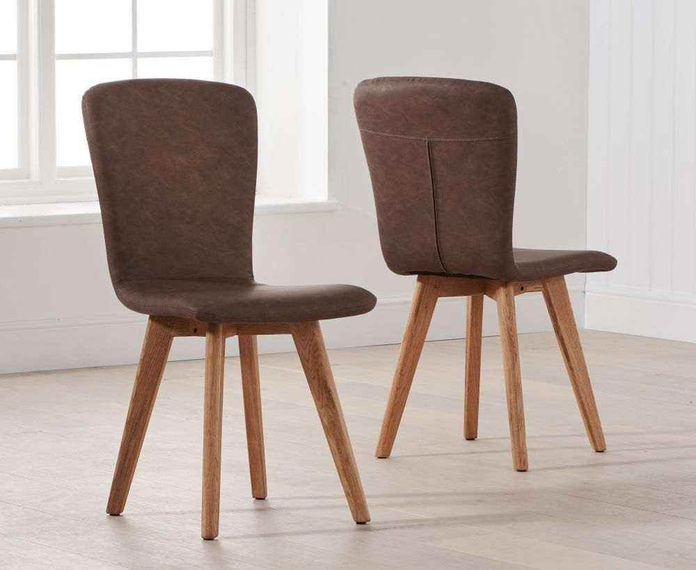 Mark Harris Tribeca Brown Faux Leather Dining Chair Pair Faux Leather Dining Chairs Dining Chairs Leather Dining Chairs