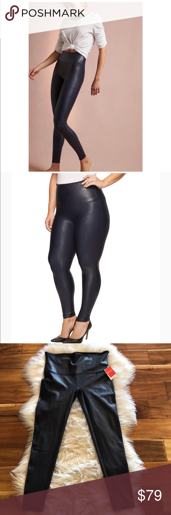 """467d923cc8684 Spanx Faux Leather Leggings Navy Blue 1X NWT Spanx Faux Leather Leggings  Navy Blue 1X NWT High Rise Measurements taken laying flat waist 16"""" Rise  about 11"""" ..."""