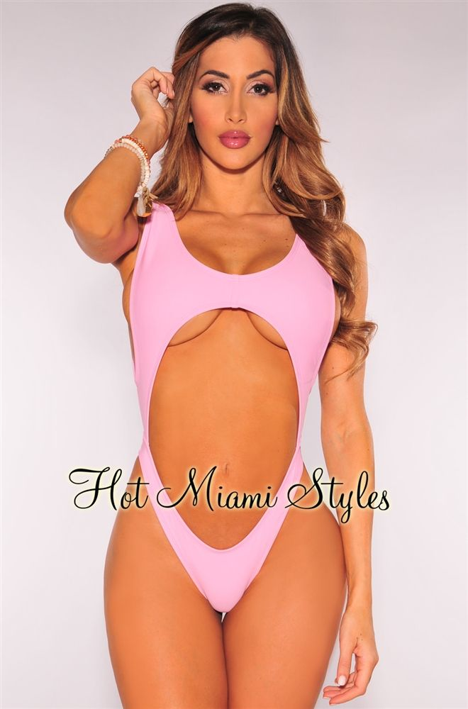 39ad381a2b6 Hotmiamistyles Rose Water Cut Out Ultra High Cut Swimsuit ( front ...