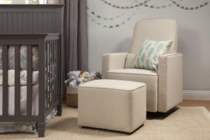 Davinci Olive Upholstered Swivel Nursery Glider For Small