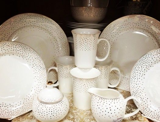 Holiday confetti dishware in white and gold from Homegoods