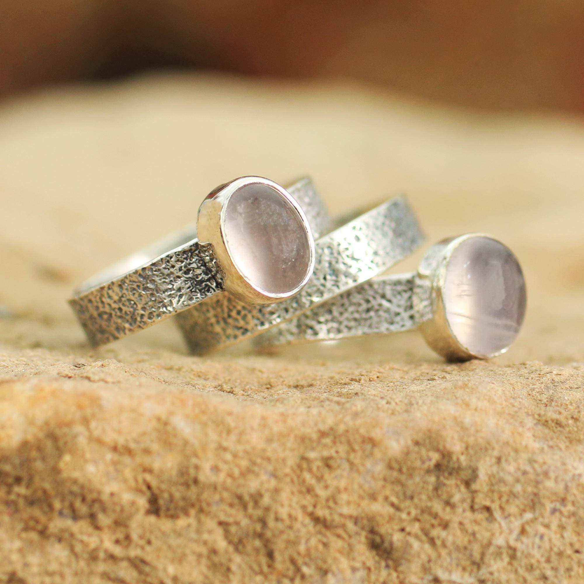 Novica Set of 3 Sterling Silver Flame of Love Rose Quartz Rings