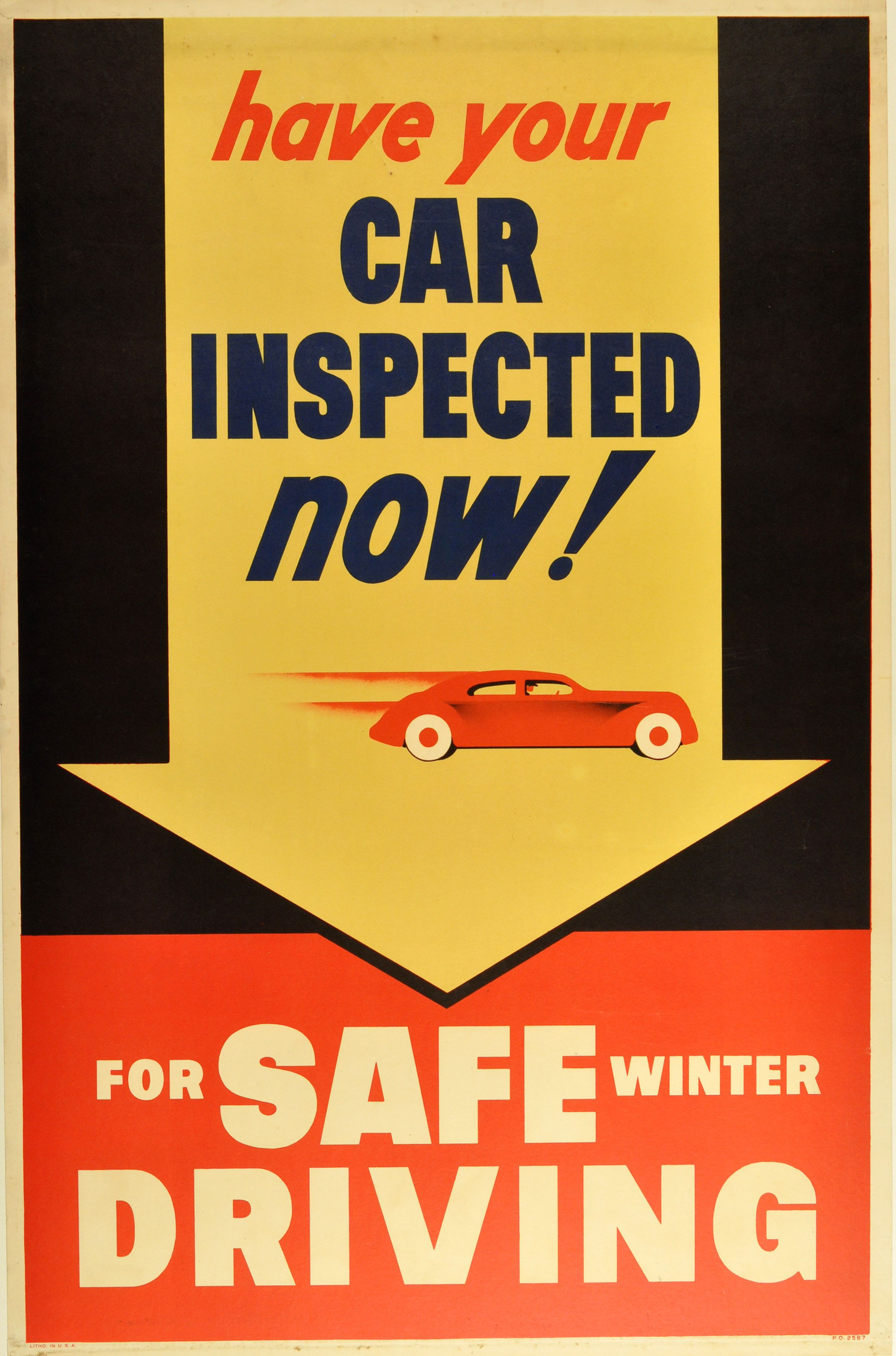 Have Your Car Inspected Now, 1950s - original vintage poster