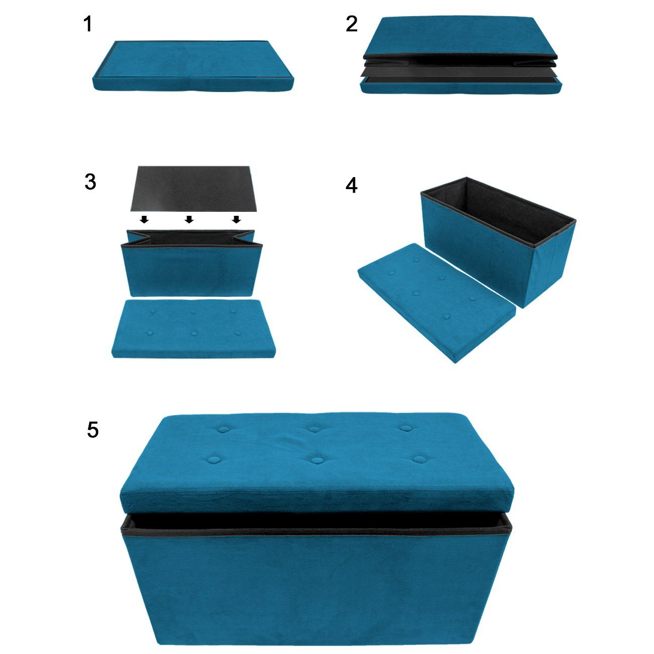 Sensational Sorbus Storage Ottoman Bench Collapsible Folding Bench Ibusinesslaw Wood Chair Design Ideas Ibusinesslaworg