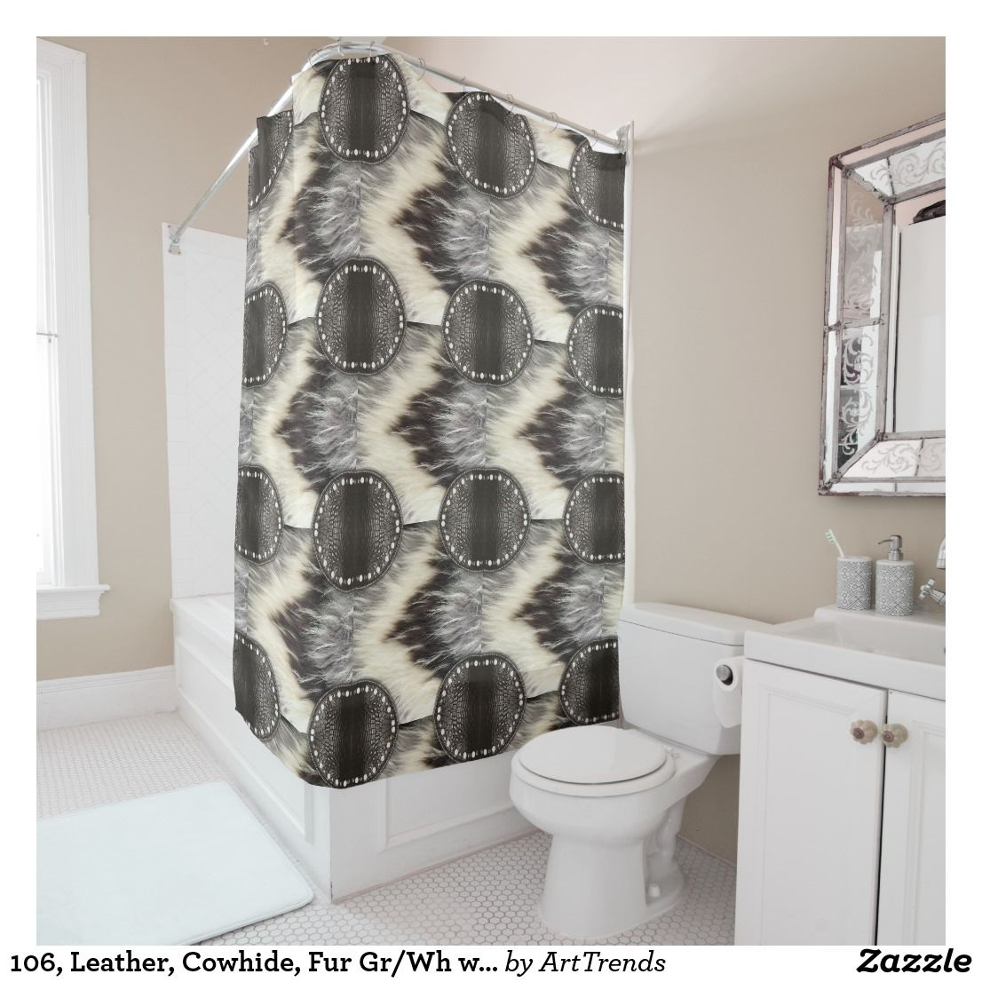 106 Leather Cowhide Fur Gr Wh With Trim Fabric Shower Curtain