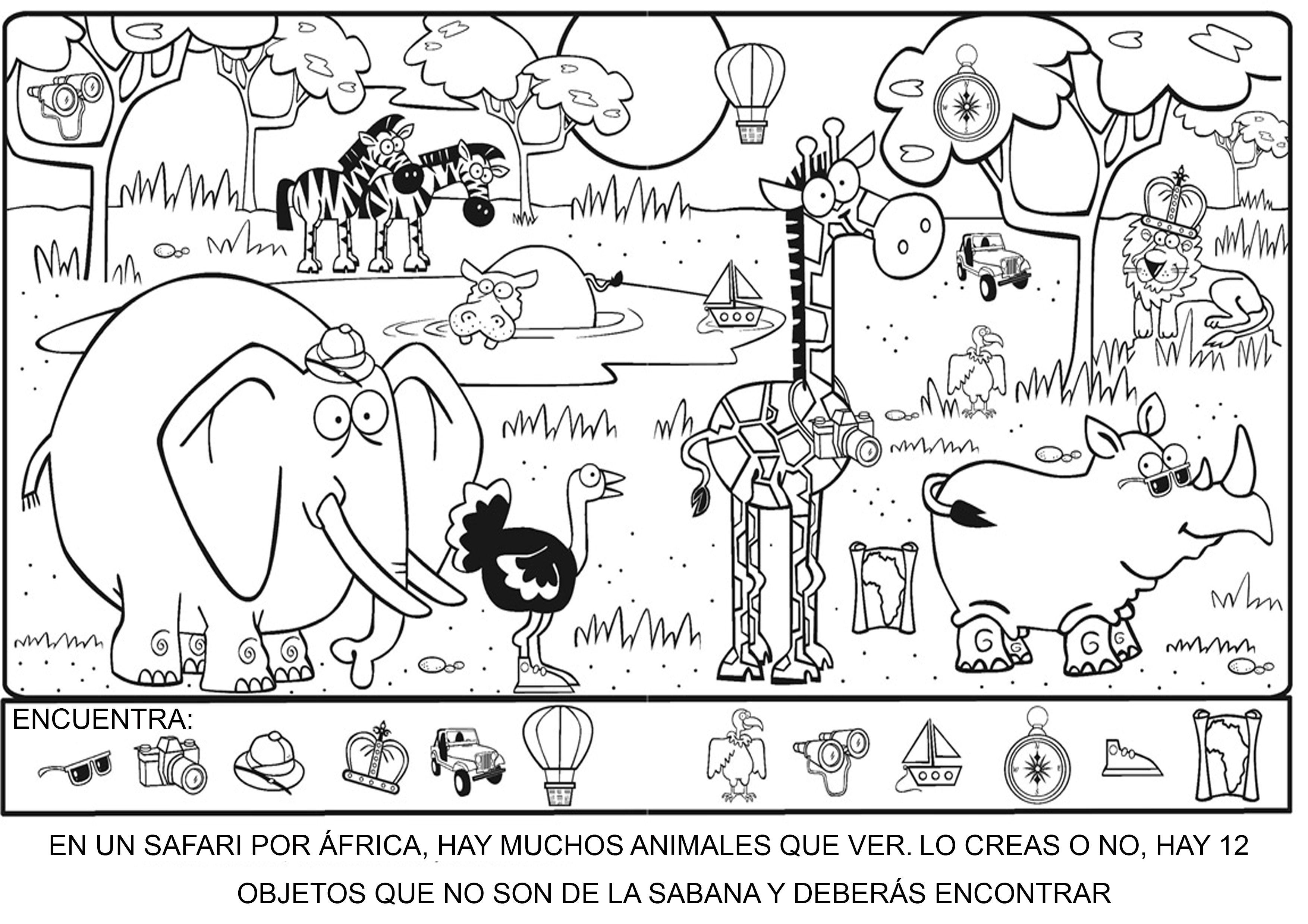 Buscar Objetos Perdidos En La Sabana Objetos Escondidos Figuras Escondidas Arte De Jardin De Infantes