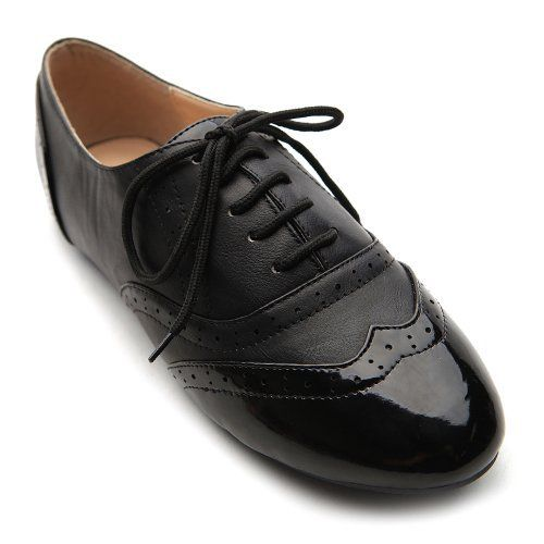 Ollio Women's Classic Dress Oxfords Low Flats Heels Lace Up Black and Black Shoes Ollio, http://www.amazon.com/dp/B008RZU56Y/ref=cm_sw_r_pi_dp_HQkfrb19Z0926
